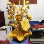 bình đục hoa sen gỗ mít