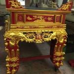 sập thờ gỗ mít hoa mai sơn son thiếp vàng