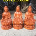bán bộ tượng phật tam thánh ngồi gỗ
