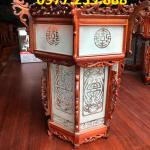 Đèn lồng treo trang trí chùa chiền bằng gỗ hương 2 mái